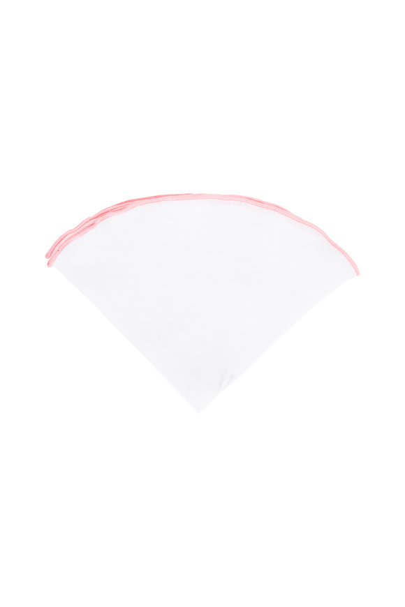 Butterfly Bowtie White With Pink Piping Linen Pocket Circle