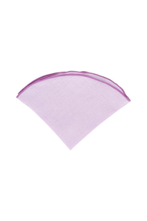 Butterfly Bowtie Light Purple Linen Pocket Circle