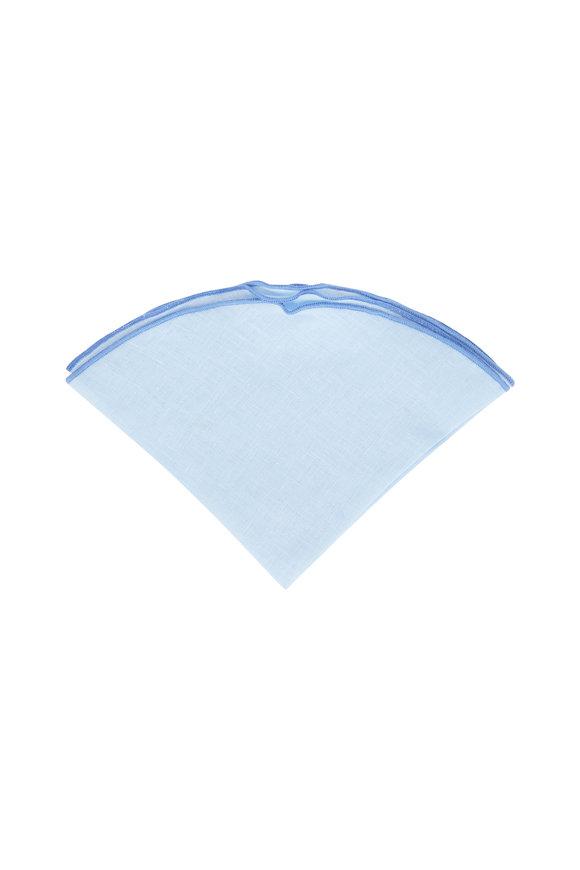 Butterfly Bowtie Light Blue Linen Pocket Circle
