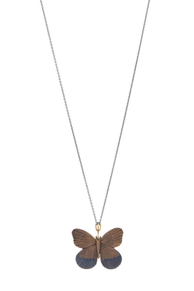 James Banks - Gold Tawny Rajah Butterfly Pendant Necklace