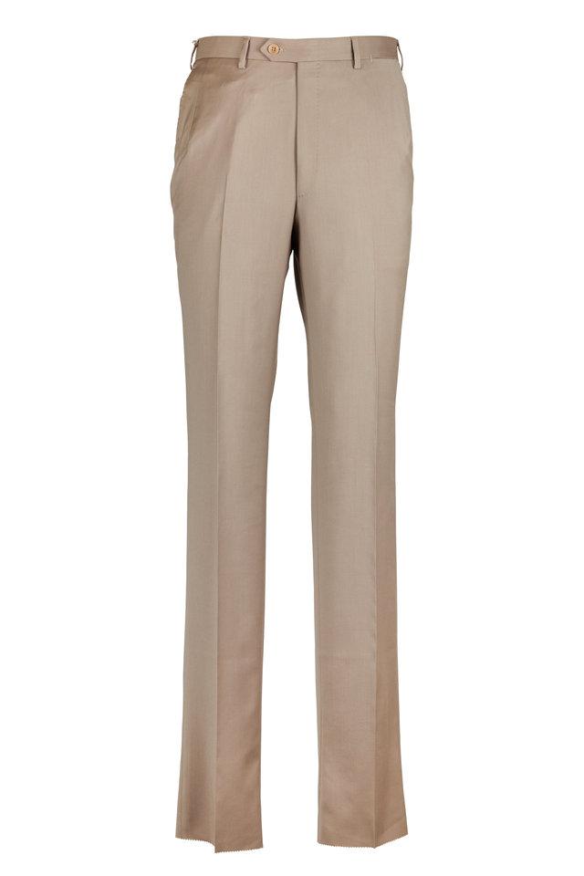 Tan Flat Wool Front Trousers