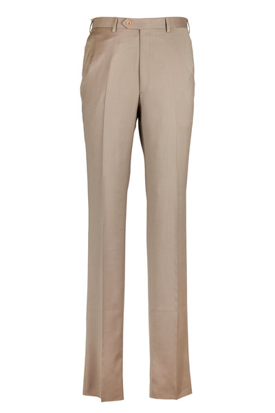 Brioni - Tan Flat Wool Front Trousers