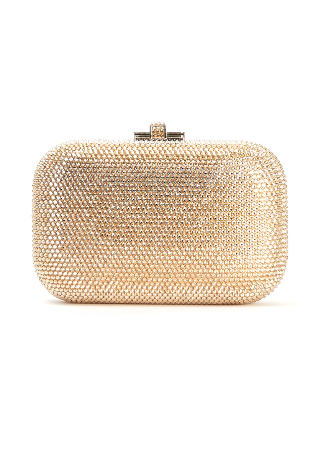 Jelly Champagne Beaded Minaudiere Clutch