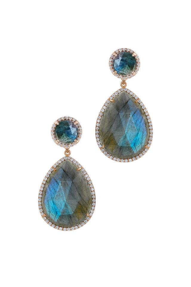 Rose Gold Labradorite Diamond Drop Earrings