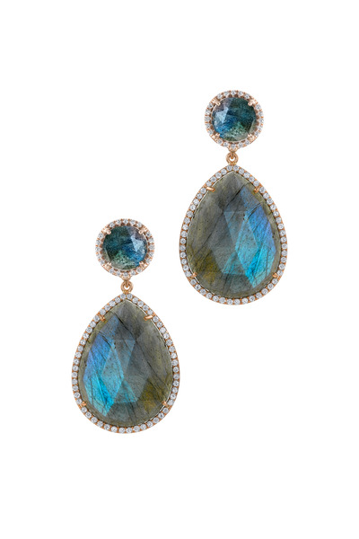 Irene Neuwirth - Rose Gold Labradorite Diamond Drop Earrings