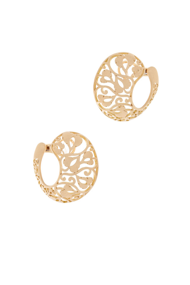 Pink Gold Filigree Clip Earrings