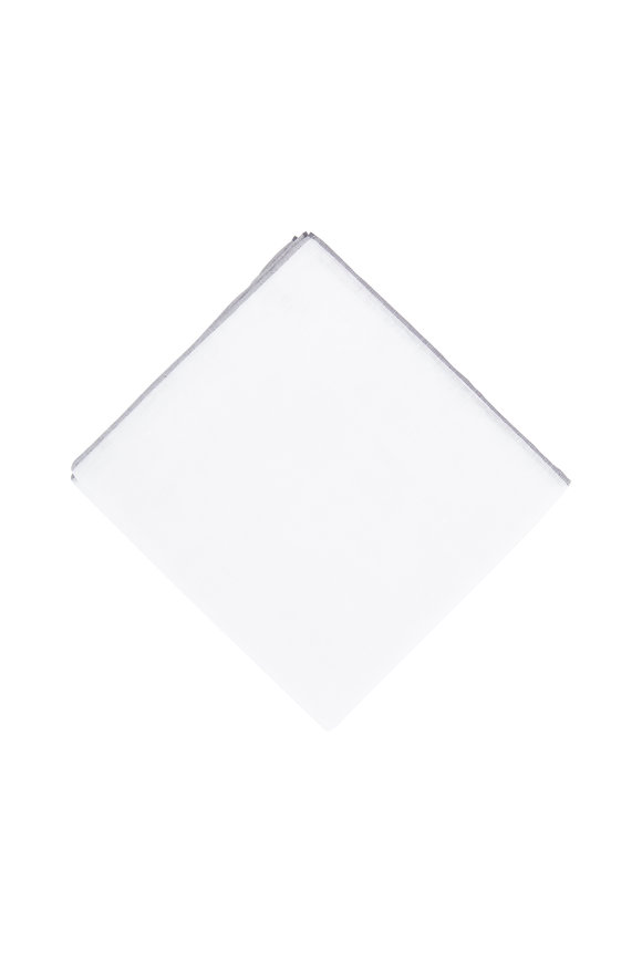Simonnot-Godard White Cotton & Linen Pocket Square