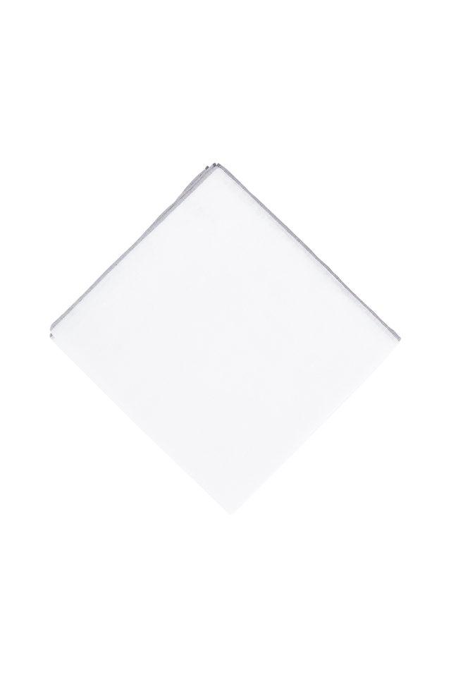 White Cotton & Linen Pocket Square