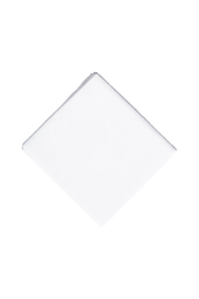Simonnot-Godard - White Cotton & Linen Pocket Square