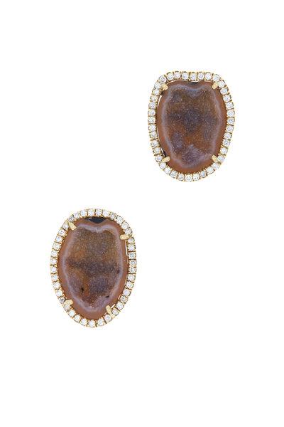 Kimberly McDonald - Yellow Gold Geode Diamond Stud Earrings