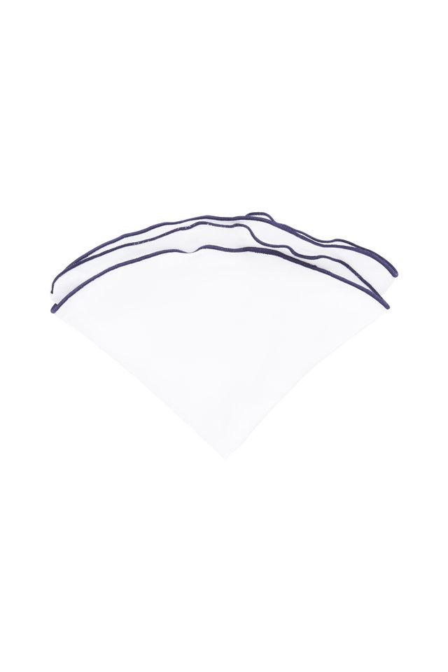 White With Navy Blue Piping Silk Pocket Circle