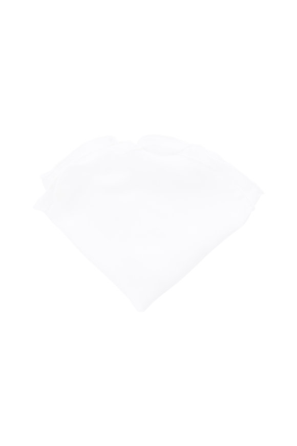 Butterfly Bowtie Solid White Silk Pocket Circle