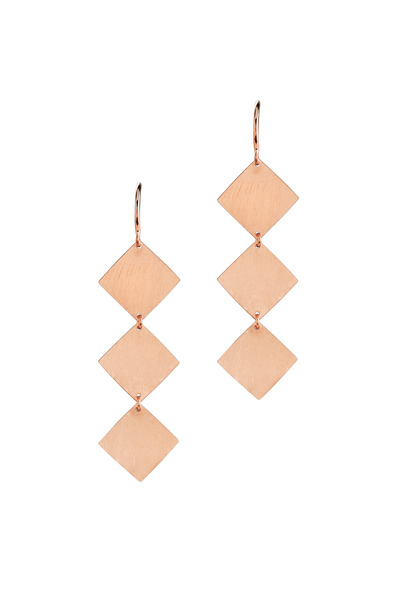 Irene Neuwirth - Rose Gold Three Square Drop Earrings