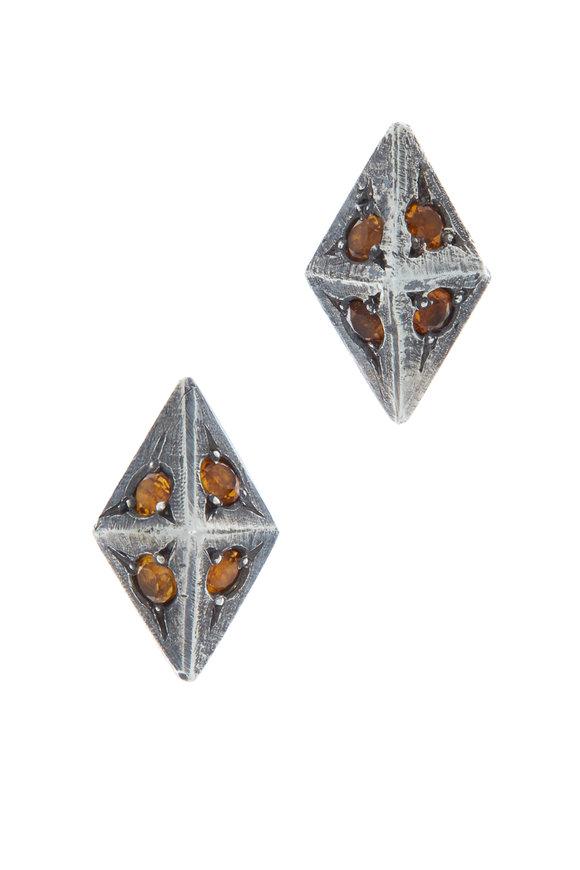 James Banks Sterling Silver Citrine Argyle Earrings