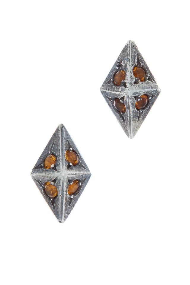 Sterling Silver Citrine Argyle Earrings
