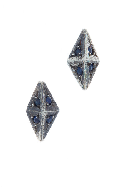 James Banks - Sterling Silver Sapphire Argyle Earrings