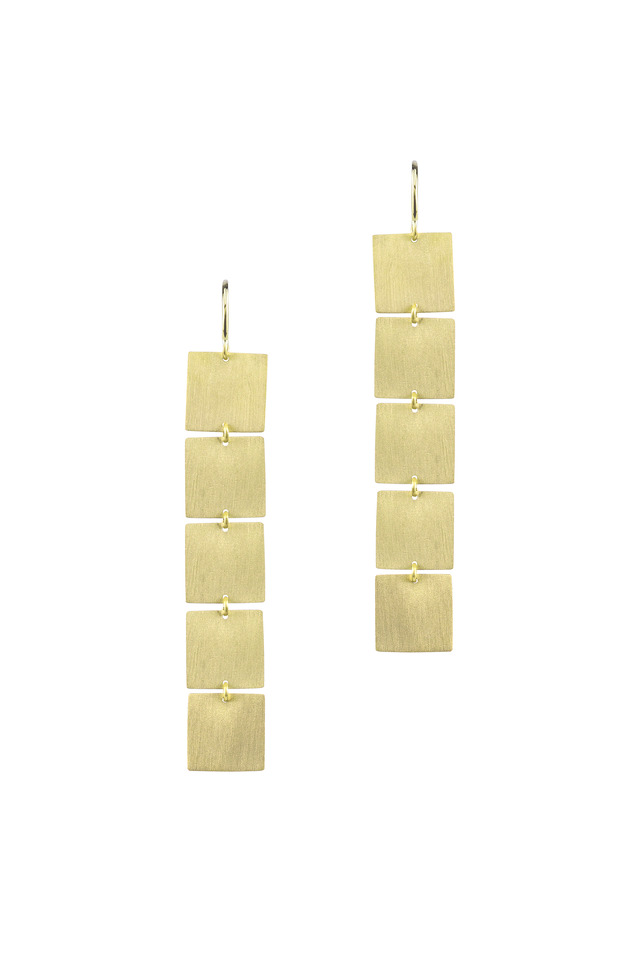 Yellow Gold Five Square Flat Drop Earrings