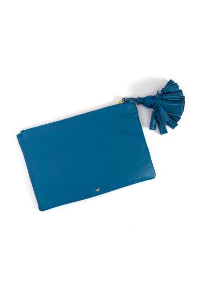 Anya Hindmarch - Georgia Bali Blue Leather Clutch