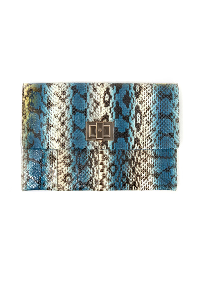 Anya Hindmarch - Valorie Blue And White Snakeskin Stripe Clutch