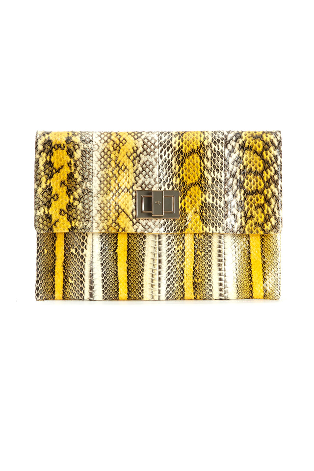Valorie Yellow And White Snakeskin Stripe Clutch
