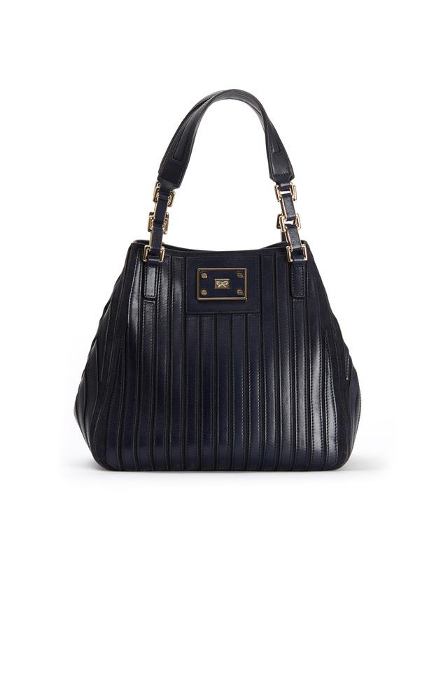Belvedere Navy Blue Leather Shoulder Bag, Small
