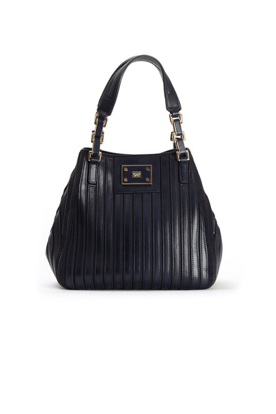 Anya Hindmarch - Belvedere Navy Blue Leather Shoulder Bag, Small
