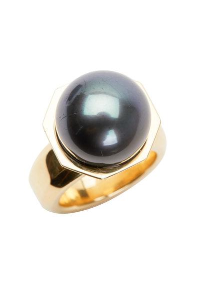 Frank Ancona - Yellow Gold Black Pearl Ring