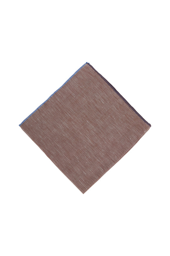 Simonnot-Godard Brown Cotton & Linen Pocket Square