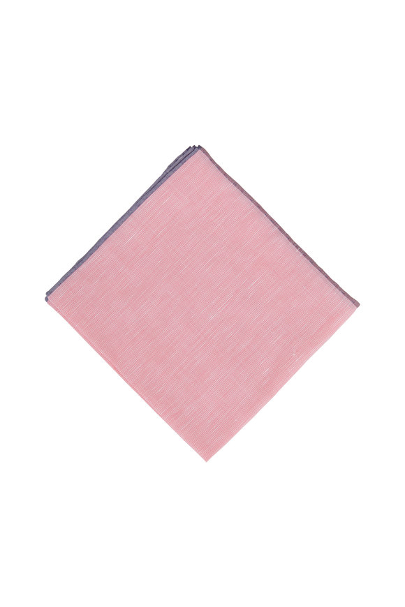 Simonnot-Godard Fuchsia Textured Cotton & Silk Pocket Square