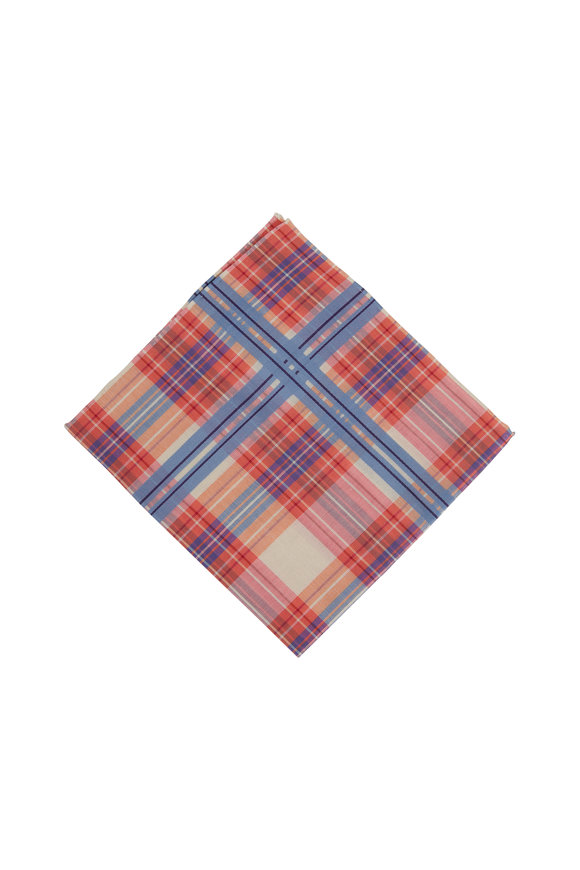 Simonnot-Godard Baltic Pink & Blue Tartan Cotton Pocket Square