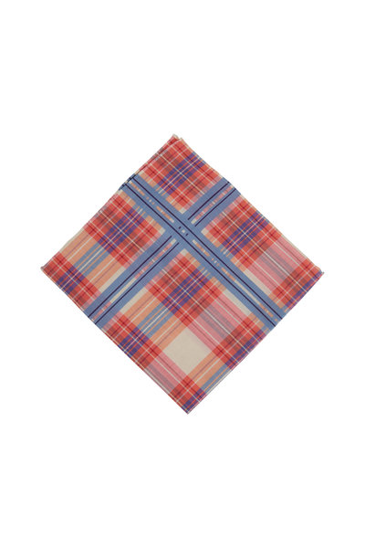 Simonnot-Godard - Baltic Pink & Blue Tartan Cotton Pocket Square