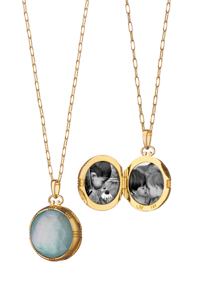 Gold Blue Topaz & Mother of Pearl Locket Necklace