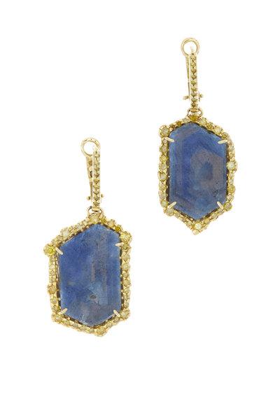 Kimberly McDonald - Yellow Gold Blue Sapphire Diamond Earrings