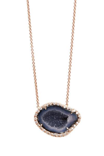 Kimberly McDonald - Rose Gold Dark Geode Diamond Pendant Necklace