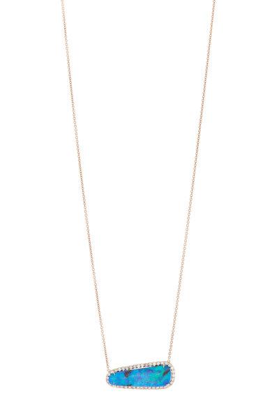 Kimberly McDonald - Rose Gold Boulder Opal Diamond Pendant Necklace
