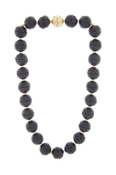Eclat - Yellow Gold Lava Bead Diamond Necklace