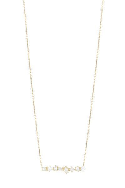 Kimberly McDonald - Yellow Gold Irregular Diamond Bar Pendant Necklace
