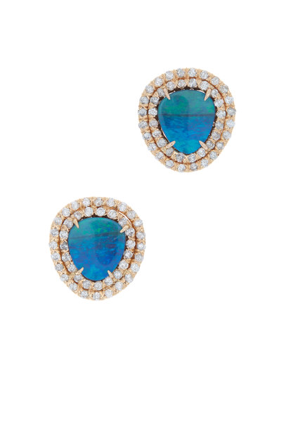 Kimberly McDonald - Rose Gold Boulder Opal Diamond Stud Earrings