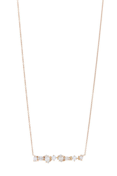 Kimberly McDonald - Rose Gold Irregular Diamond Bar Necklace