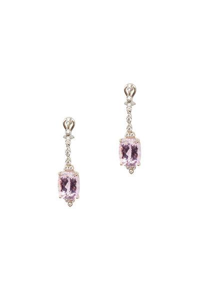 Frank Ancona - White Gold Kunzite Diamond Drop Earrings