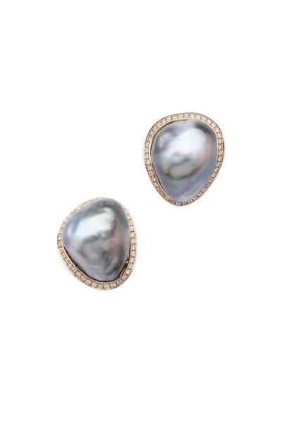 Frank Ancona - Pewter Tahitian Pearl Diamond Keshi Earrings