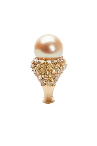 Frank Ancona - Golden Pearl & Diamond Cocktail Ring