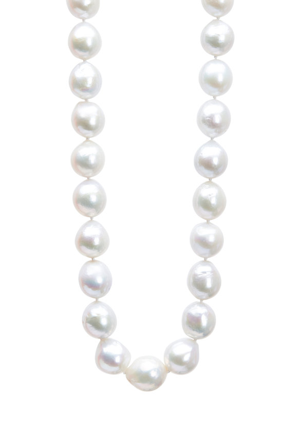 Frank Ancona Gold Baroque Freshwater Pearl Diamond Necklace