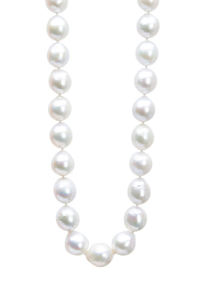 Frank Ancona - Gold Baroque Freshwater Pearl Diamond Necklace