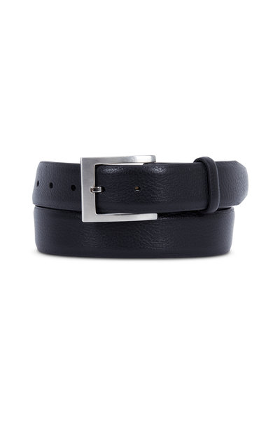 Aquarius - Black Grain Leather Belt