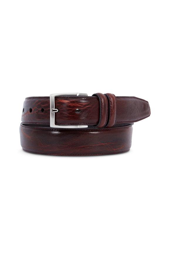 Aquarius Antiqued Burgundy Soft Leather Belt