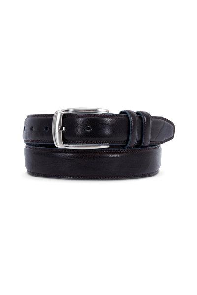 Aquarius - Brown Leather With Indigo Border Belt