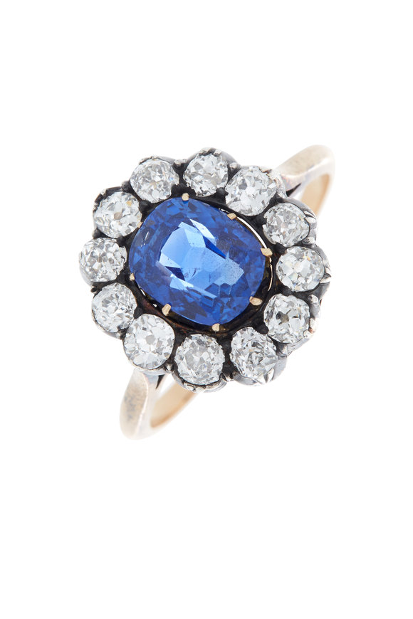 Fred Leighton Yellow Gold Antique Sapphire Diamond Ring