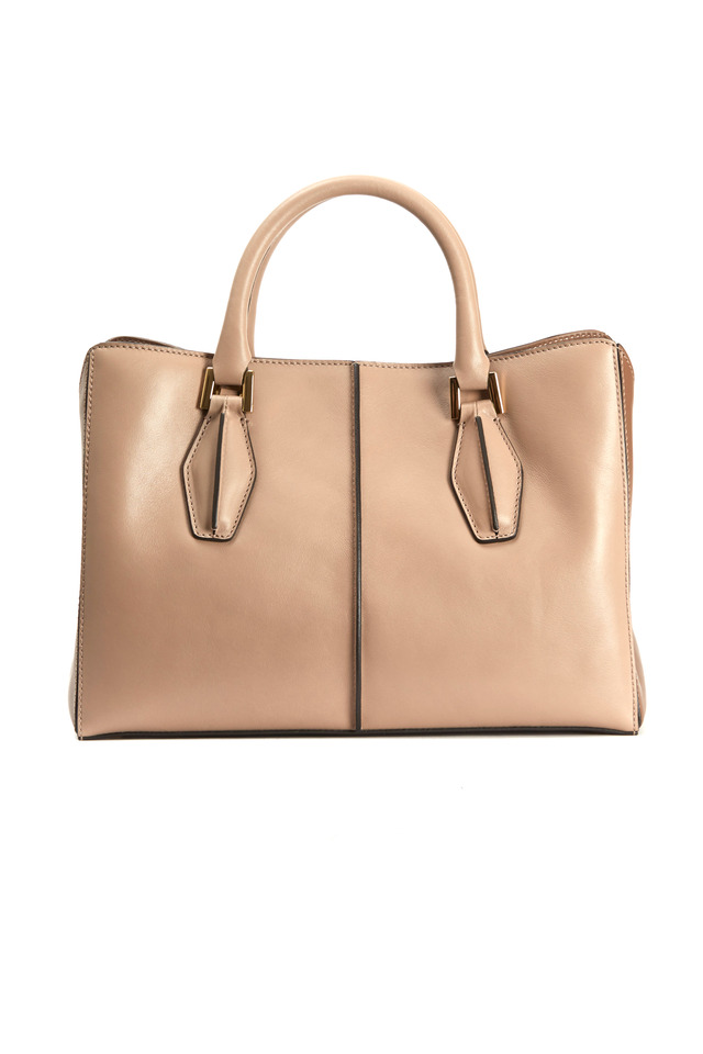 Taupe Leather Small D Cube Handbag