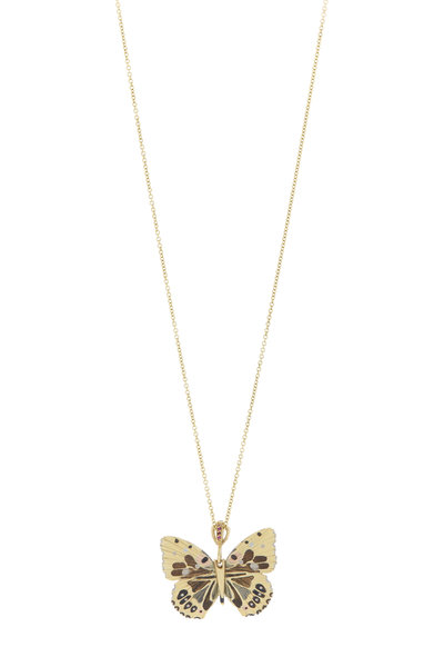 James Banks - 18K Yellow Gold Ruby Hawaiian Butterfly Necklace